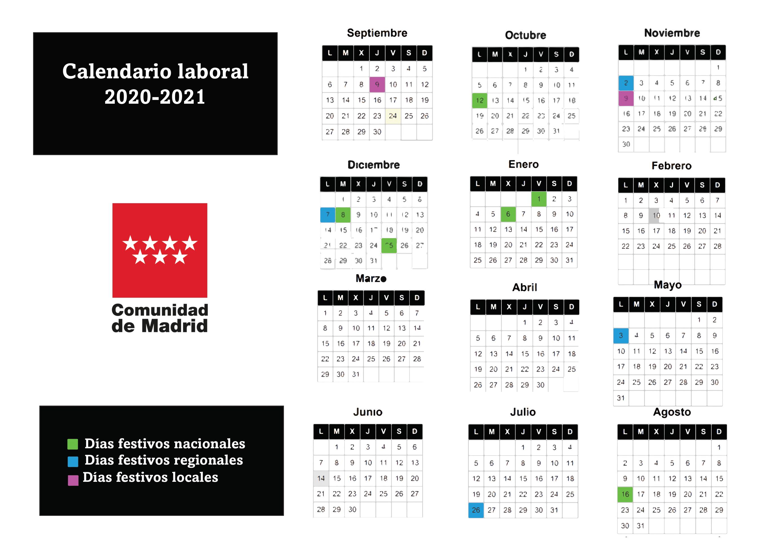 Calendario laboral de Madrid 2020/2021: festivos y puentes en la